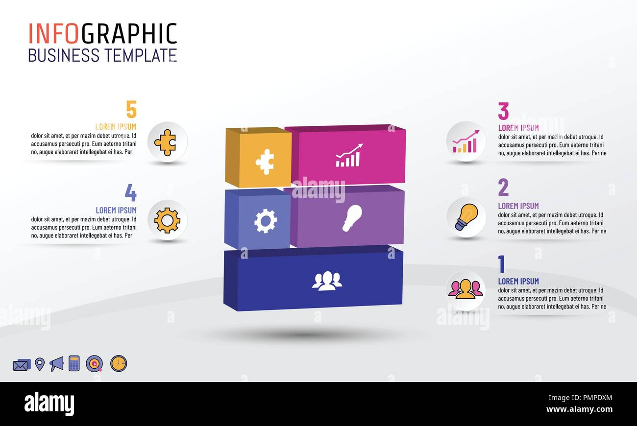 Business infographics template block style with 5 steps options business infographics template block style with 5 steps options vector illustration layout design for business plan strategy or any purpose accmission Choice Image