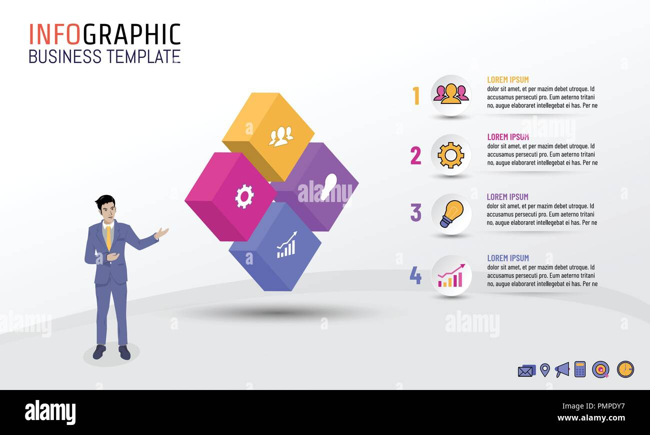 Business infographic template block style with 4 steps, options, Vector illustration layout design for business plan, strategy or any purpose. - Stock Image
