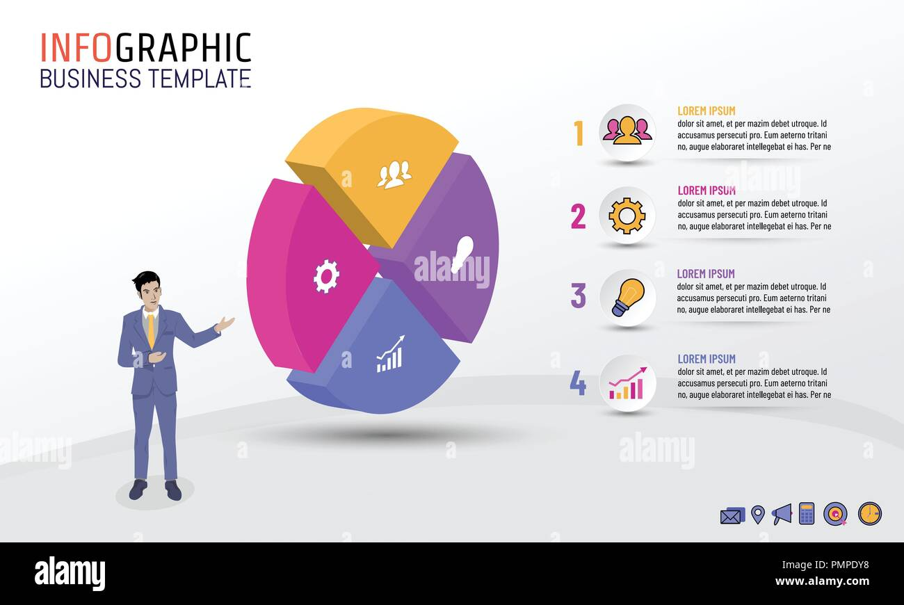 Business infographic template circle style with 4 steps, options, Vector illustration layout design for business plan, strategy or any purpose. Stock Vector