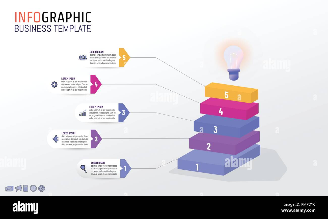 Infographic design template with business marketing icons, business concept with 5 steps, processes, options, diagram or number - Stock Image