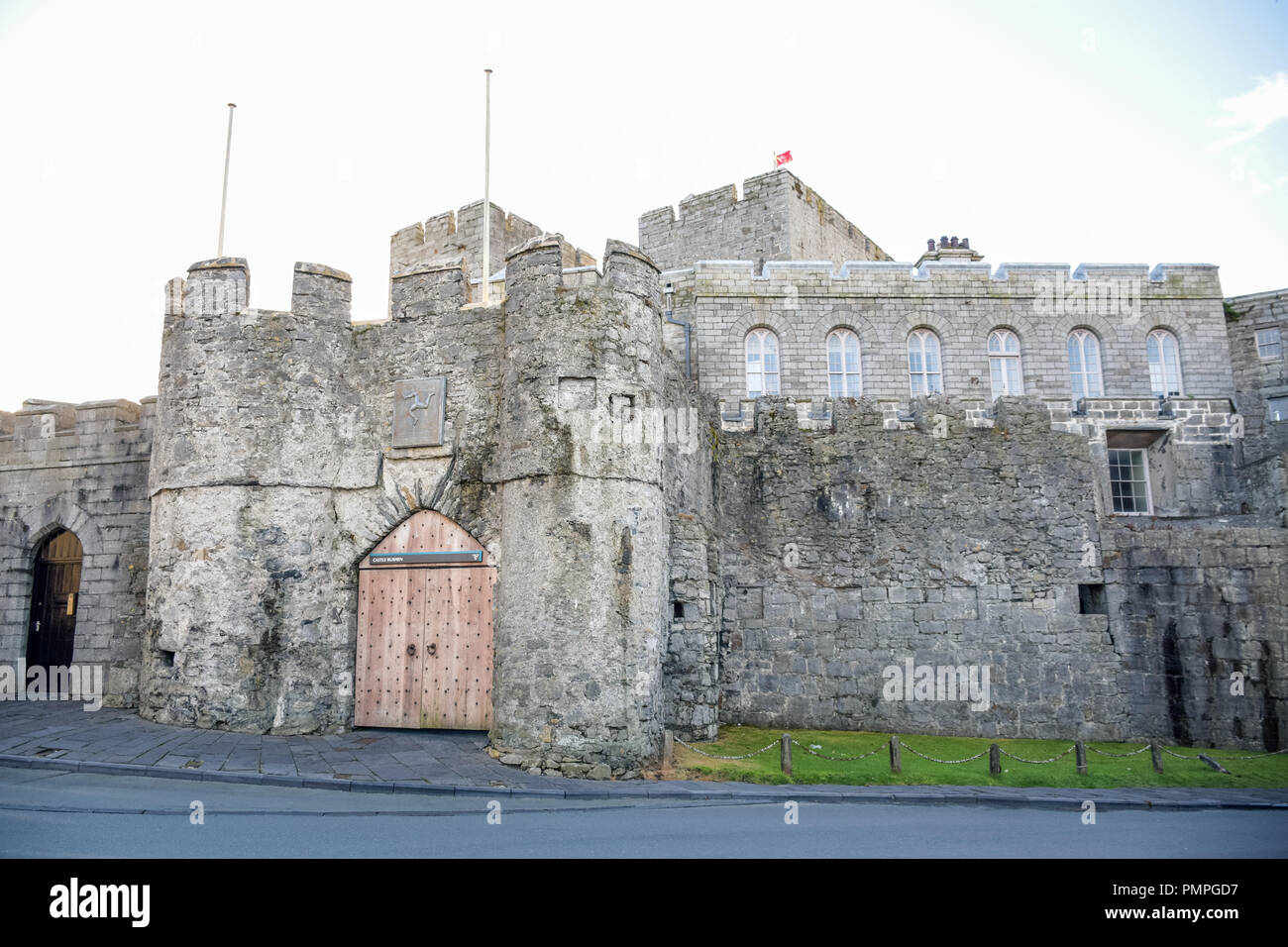 The Castle Rushen in Castletown in a clear blue sky, Isle of Man Stock Photo