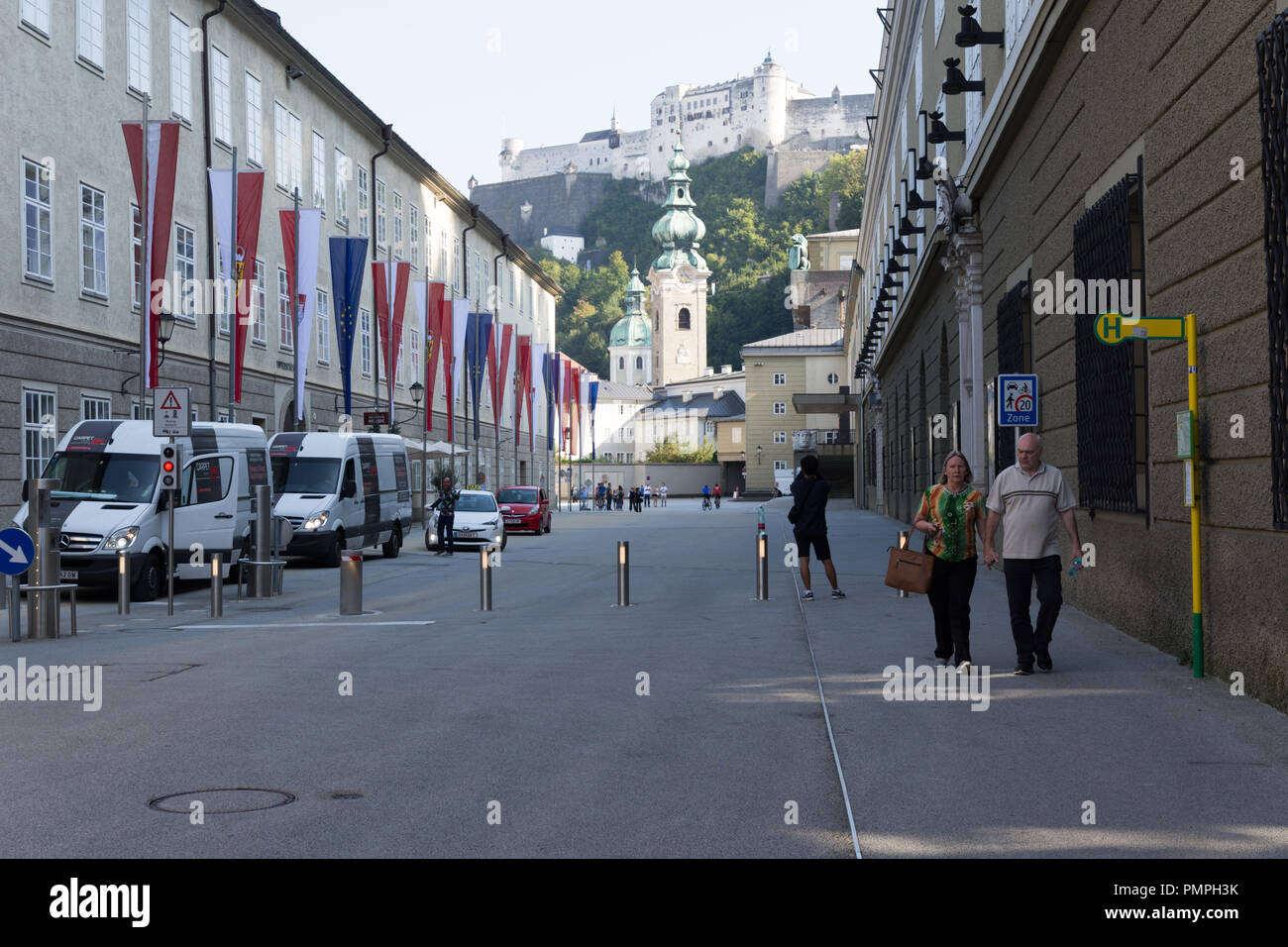 Citycenter of Salzburg, Tyrol; Austria, with flags for the EU summit 2018. - Stock Image