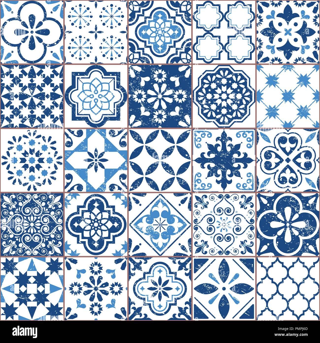 Vector Azulejo Tile Pattern Portuguese Or Spanish Retro Old Tiles