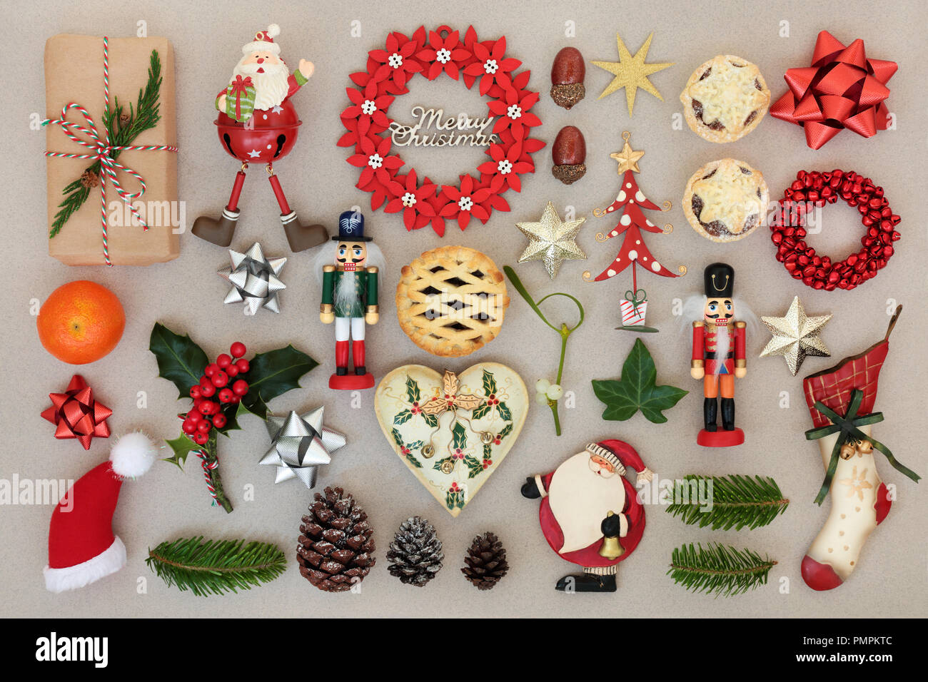 christmas decorations with food flora bows and traditional symbols forming an abstract background festive christmas card for the holiday season