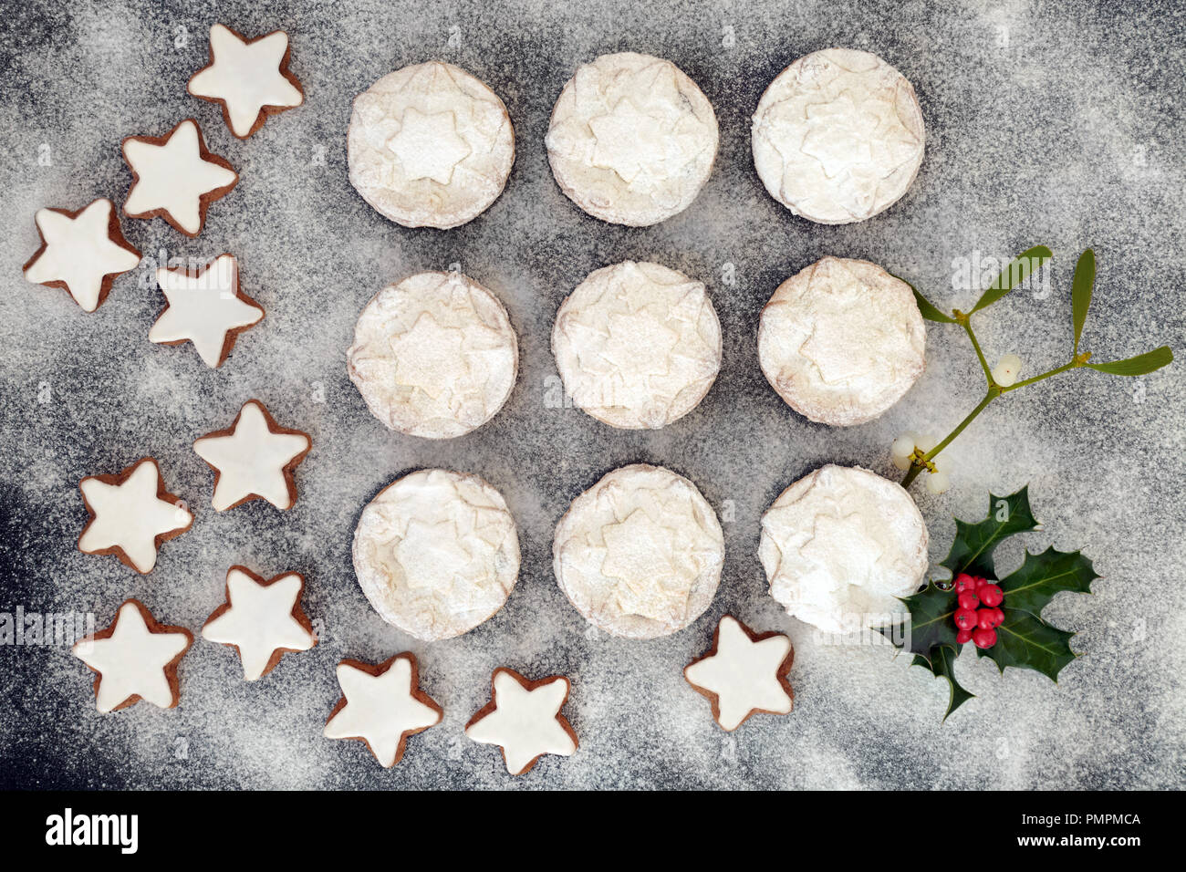 Christmas Mince Pies And Gingerbread Cookies With Holly Berry Leaf