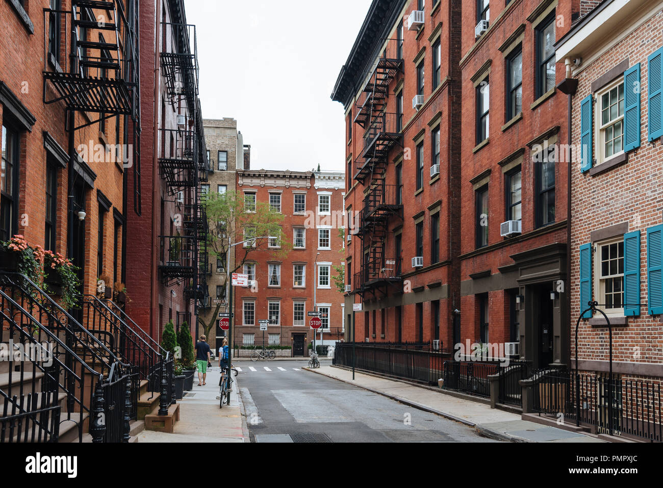 New York City, USA - June 22, 2018: Beautiful view of historic houses along Gay street in Greenwich Village Stock Photo