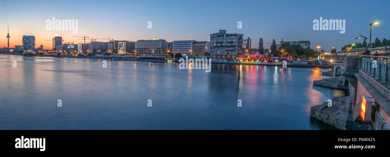 Panoramic view from Oberbaum bridge, riverside Spree, Skylöine, Friedrichshain, Alex, TV Tower, - Stock Image