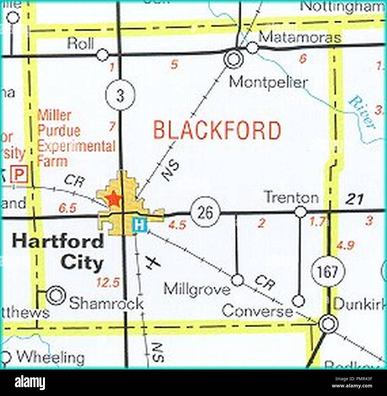 Hartford City Indiana Map.Blackford Hwy Map Indiana Dot Stock Photo 219325667 Alamy
