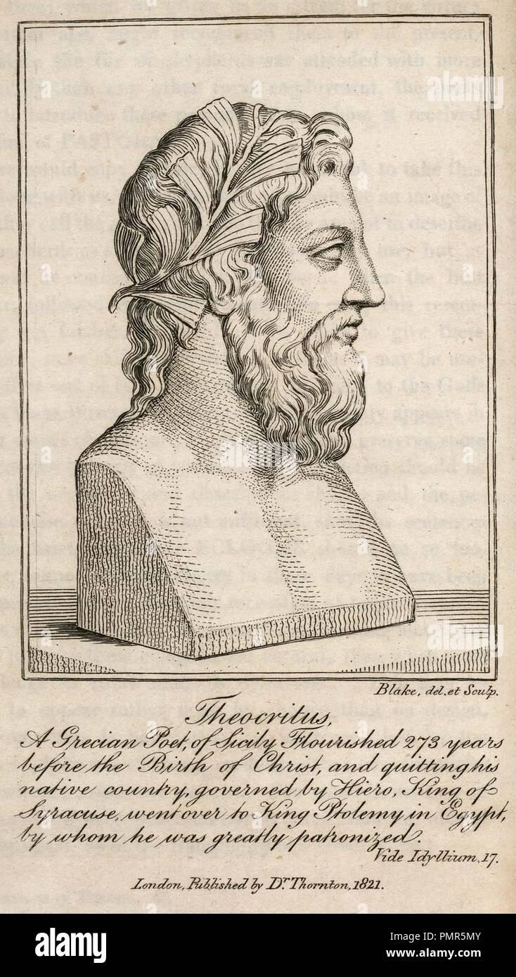 Blake engraving The Pastorals of Virgil, copy 1, object 1 Theocritus bb504 2 1 com 300. - Stock Image