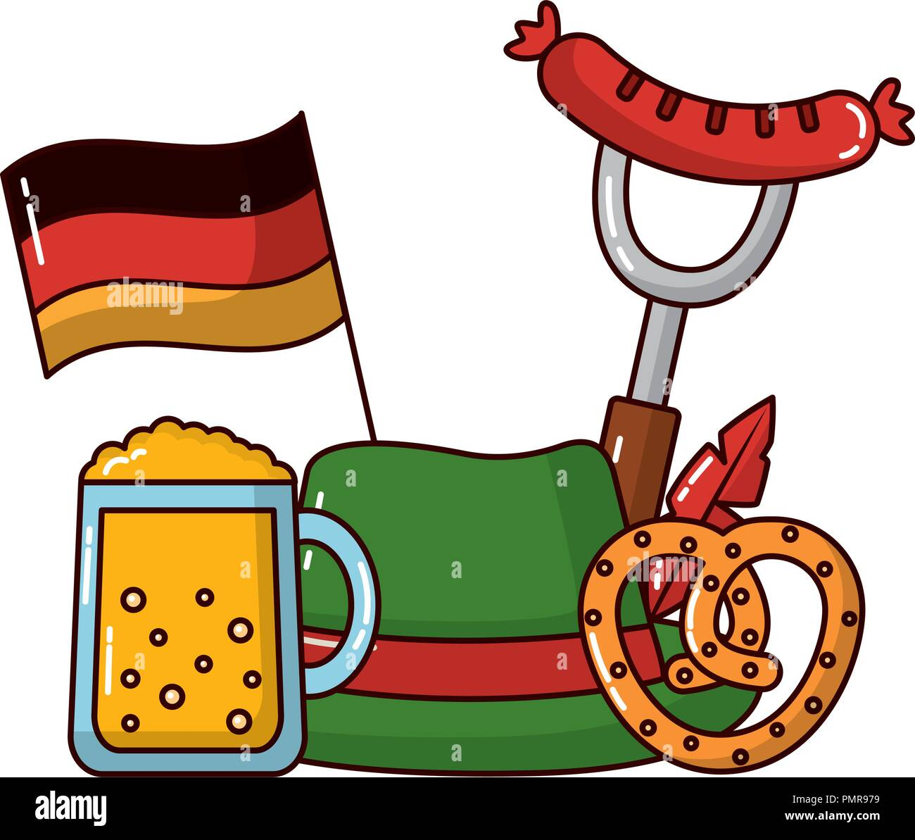 german traditional hat and oktoberfest icons - Stock Image