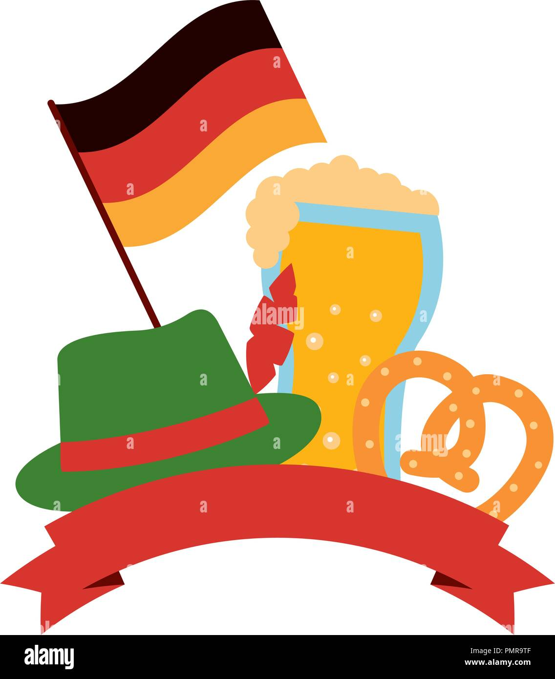 germany flag with oktoberfest icons - Stock Image