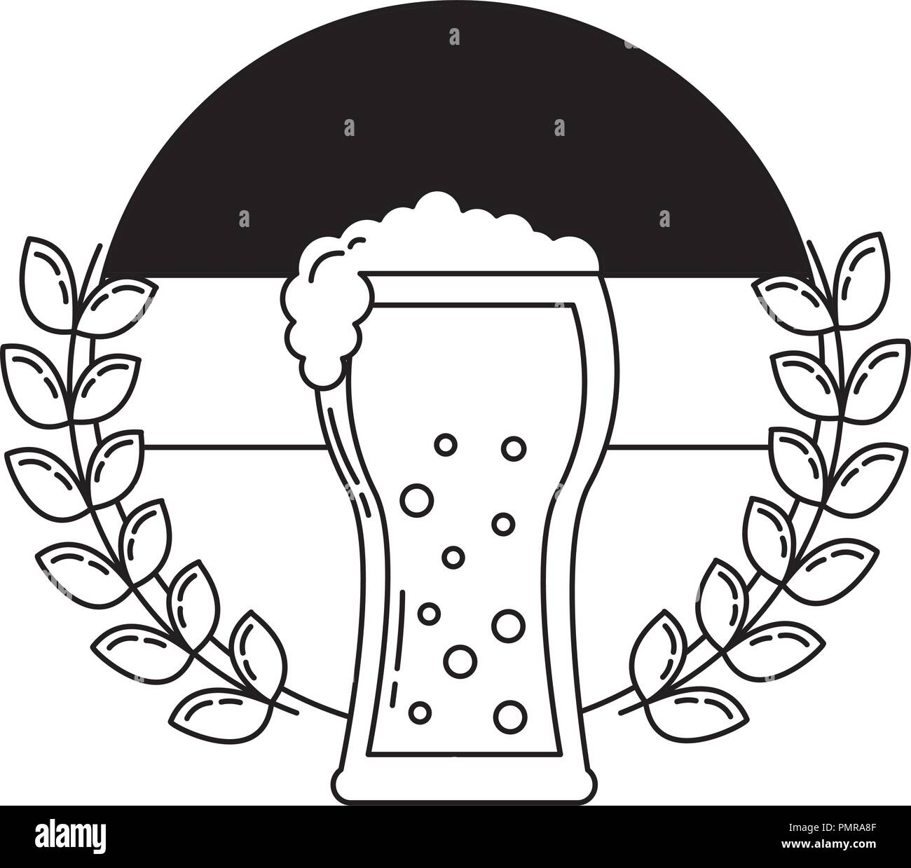 beer glass with flag germany and crown - Stock Image