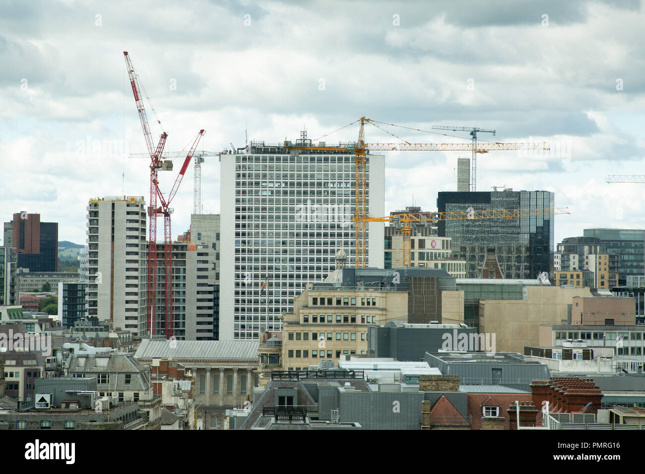 Birmingham Skyline, pictured from Colmore Row looking towards Paradise Circus - Stock Image