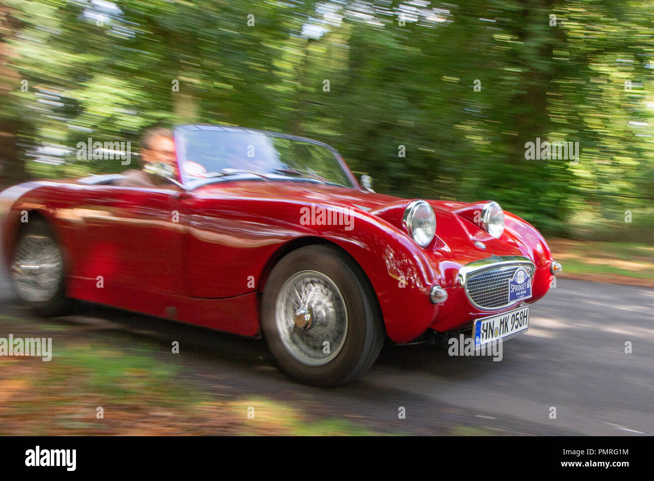 The 60th year of the Austin Healey Sprite was celebrated by the Midget and Sprite Club with a Spridget 60 weekend at Wroxall Abbey near Warwick, - Stock Image