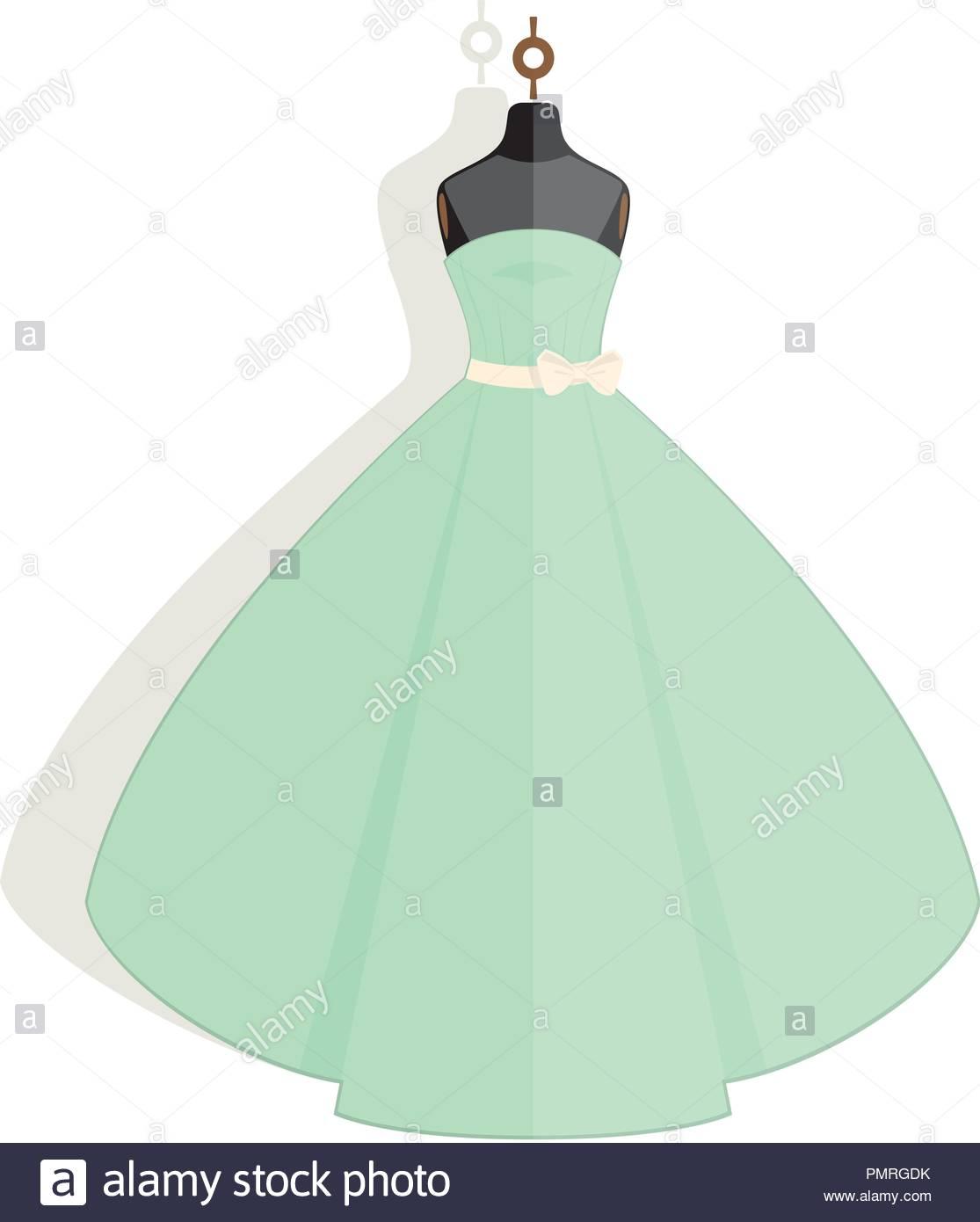Romantic light green wedding dress on the mannequin Stock Vector Art ...