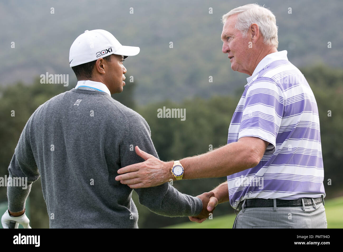 Tiger Woods and NBA great Jerry West talks golf while preparing for the 2012 World Challenge at Sherwood Country Club on November 27, 2012 in Thousand Oaks, California (Photo by John Salangsang / PRPP / PictureLux) - Stock Image
