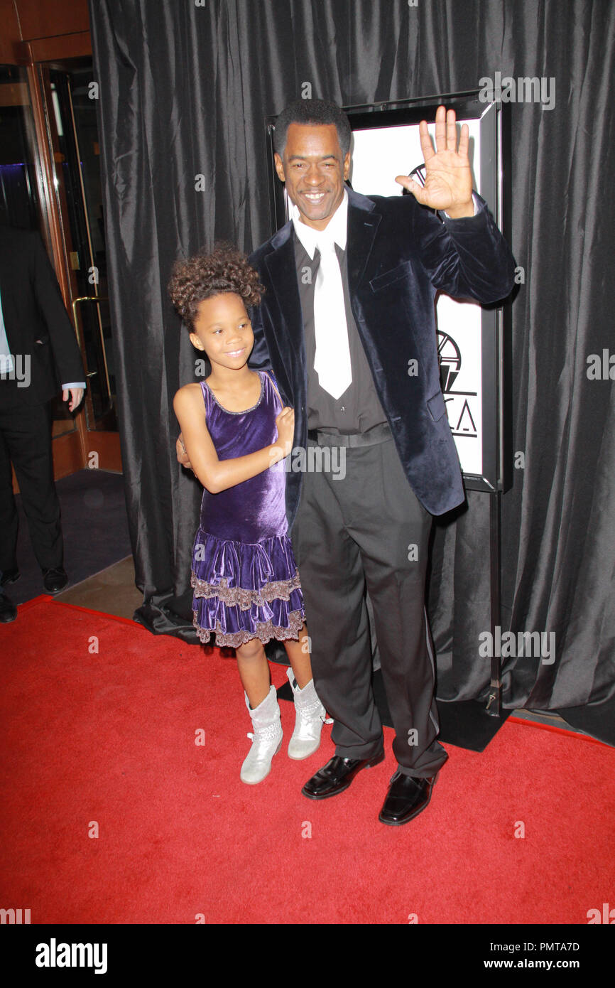 Quvenzhane Wallis, Dwight Henry 01/12/2013 The 38th Annual Los Angeles Film Critics Association Awards held at InterContinental Hotel in Los Angeles, CA Photo by Izumi Hasegawa / HNW / PictureLux - Stock Image
