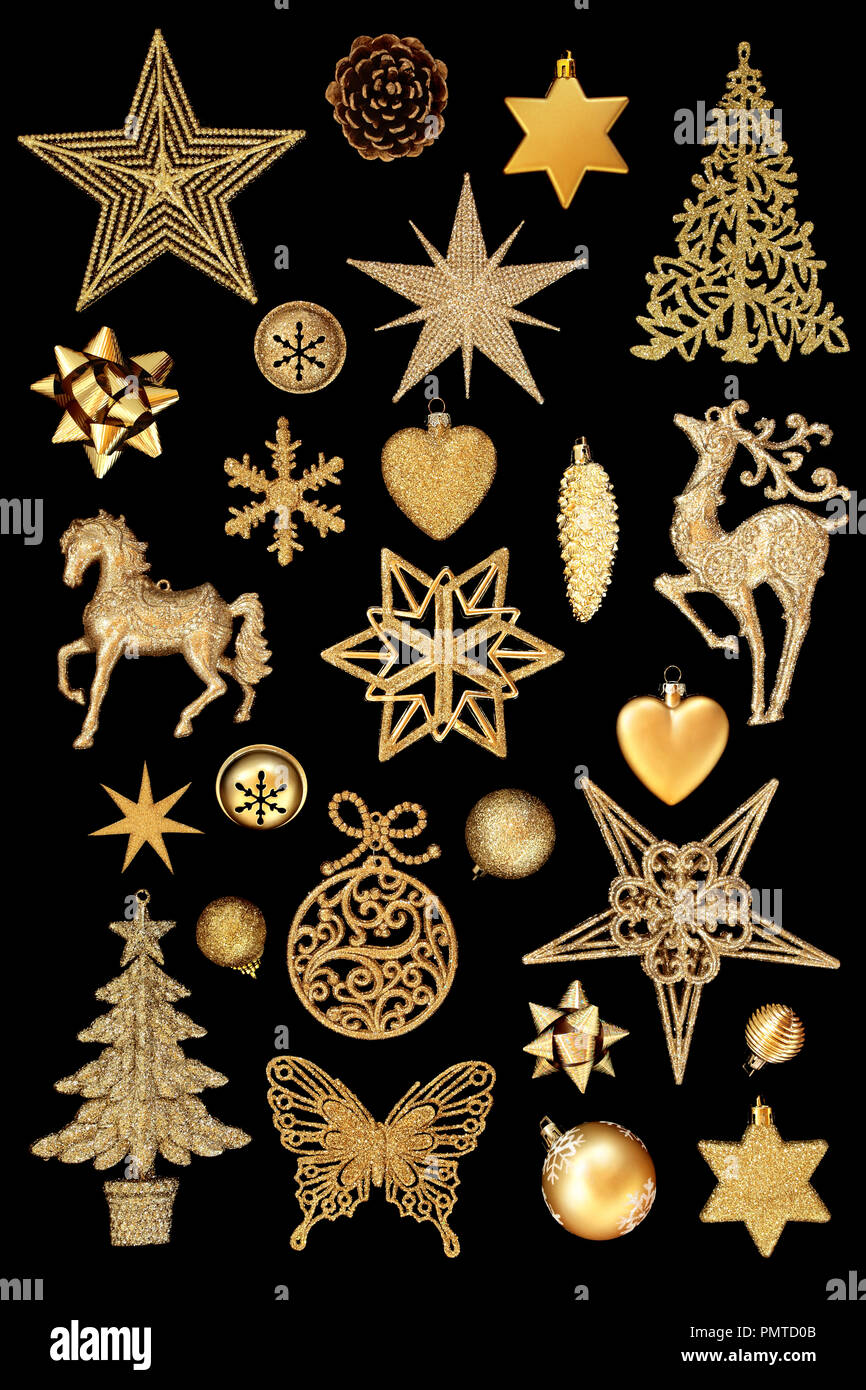 Gold Christmas Tree Bauble Decorations On Isolated On Black
