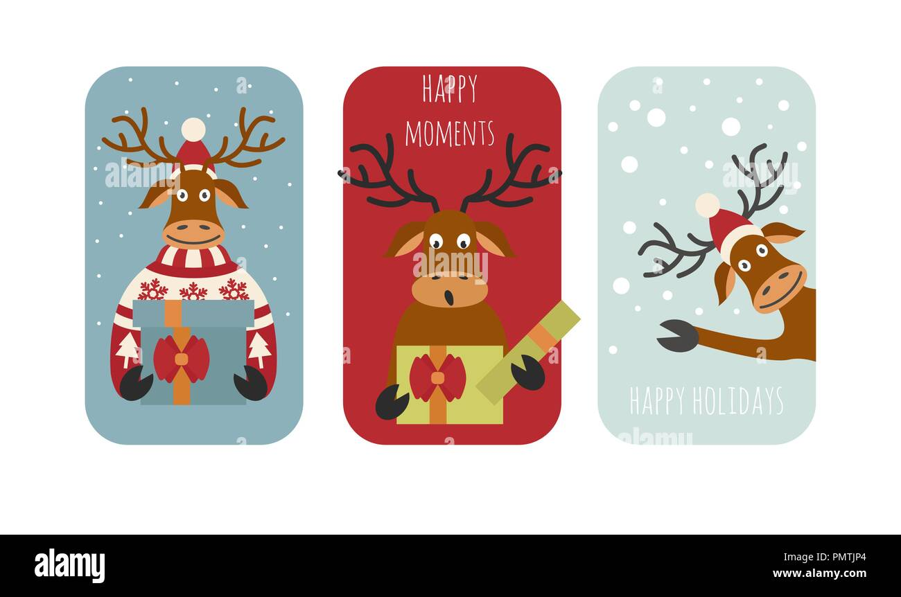 cute reindeer sticker icon set elements for christmas holiday