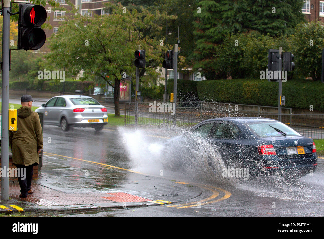 Glasgow Scotland UK 19th September 2018 Weather Storm Ali Appeared In The City Overnight Bringing Wind And Rain With An Amber Be Prepared Warning