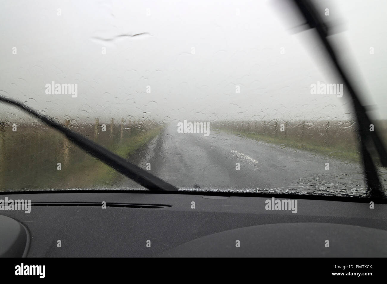 B6276, Brough, Cumbria, UK.  Wednesday 19th September 2018.  Strong winds and heavy rain associated with Storm Ali are making driving conditions hazardous in Cumbria.  Storm Ali is the first named storm of the winter and it has caused at least one death as it sweeps across Ireland and the UK. Credit: David Forster/Alamy Live News - Stock Image