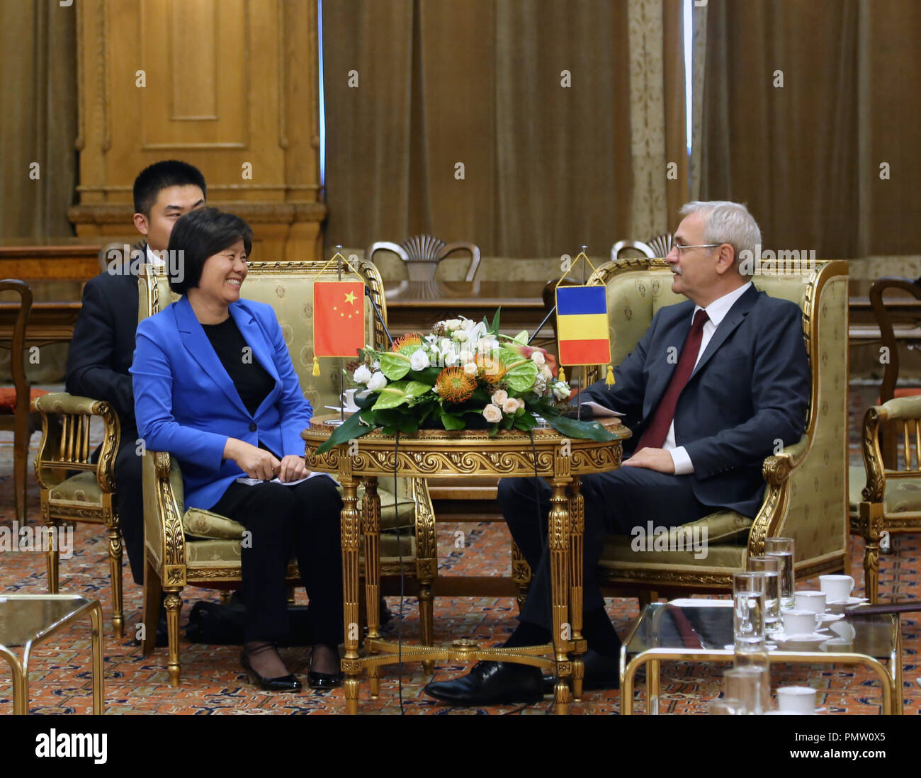 Bucharest, Romania. 17th Sep, 2018. Shen Yueyue (L), vice chairperson of the Standing Committee of the National People's Congress and president of the All-China Women's Federation, meets with Romanian Chamber of Deputies Speaker Liviu Dragnea in Bucharest, Romania, on Sept. 17, 2018. Credit: Chen Jin/Xinhua/Alamy Live News - Stock Image