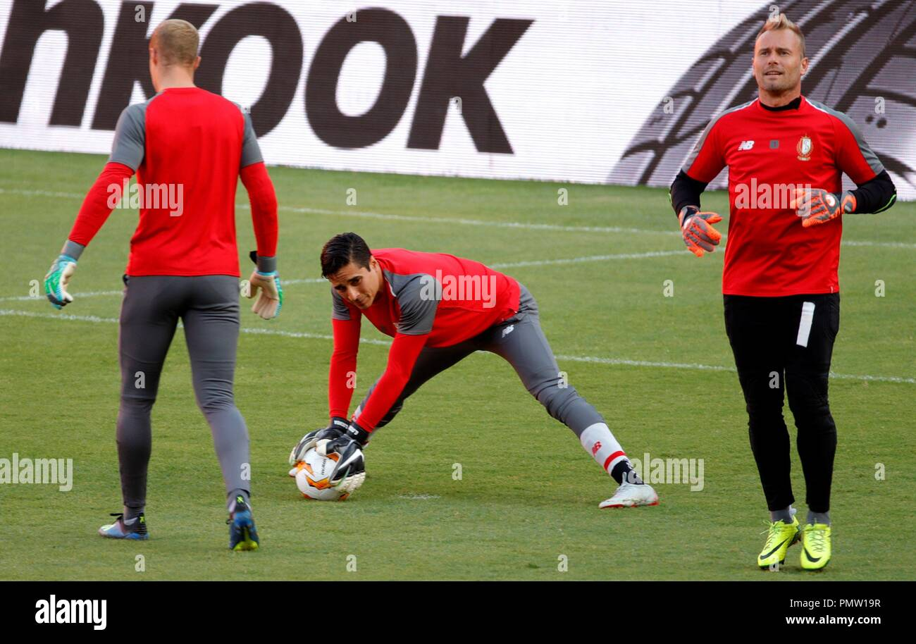 Standard Lieja s Goalkeepers Belgians Arnaud Bodart L And Jean Francois Gillet R And Mexican Guillermo Ochoa