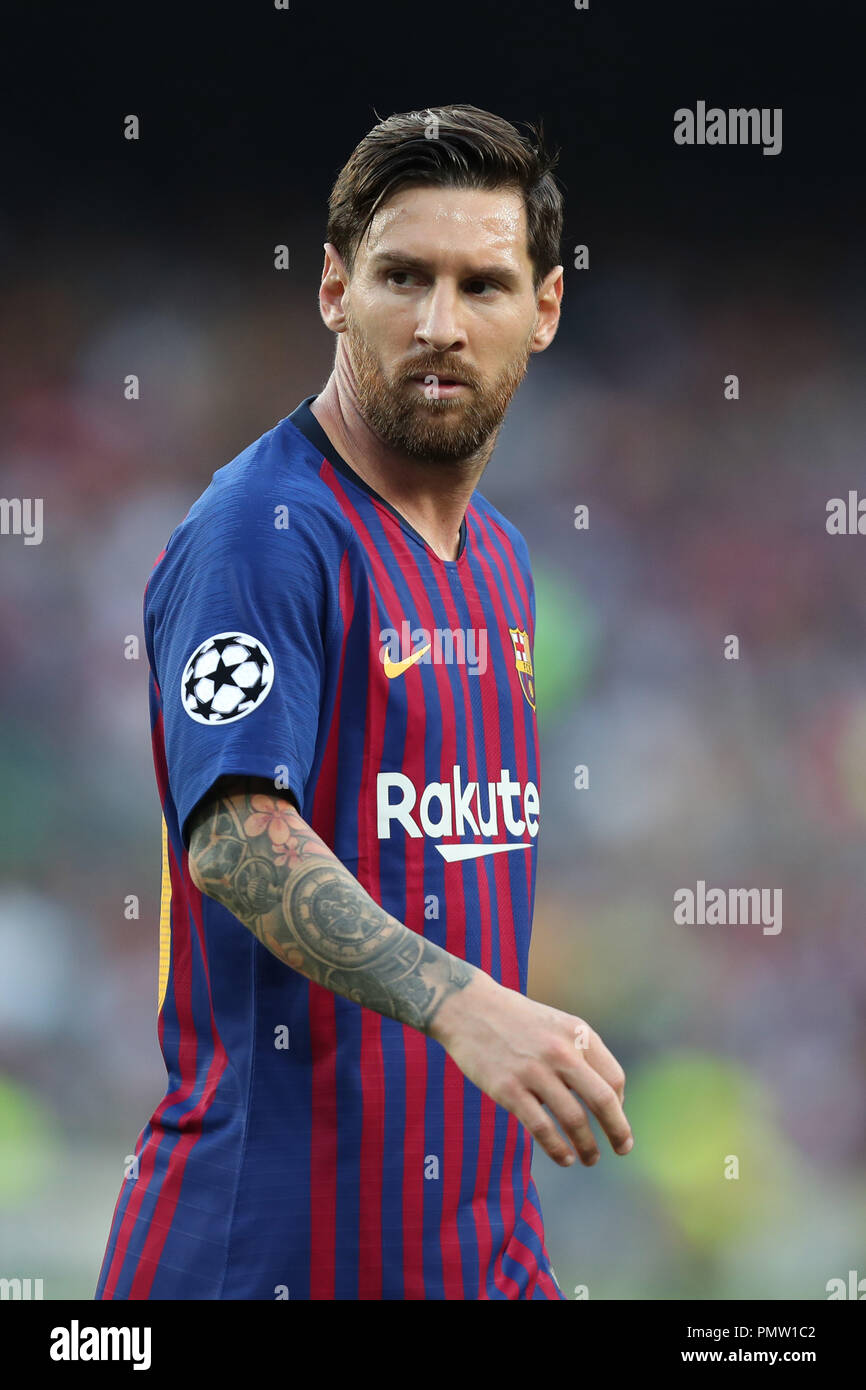 Barcelona, Catalonia, Spain. 18th Sep, 2018. Lionel Messi of FC Barcelona during the UEFA Champions League, Group B football match between FC Barcelona and PSV Eindhoven on September 18, 2018 at Camp Nou stadium in Barcelona, Spain Credit: Manuel Blondeau/ZUMA Wire/Alamy Live News - Stock Image