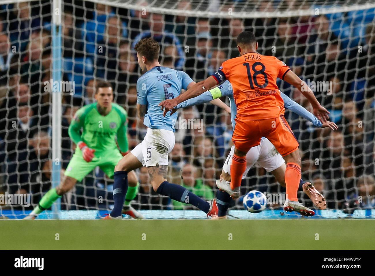 Manchester Uk 19th September 2018 Nabil Fekir Of Lyon Scores His