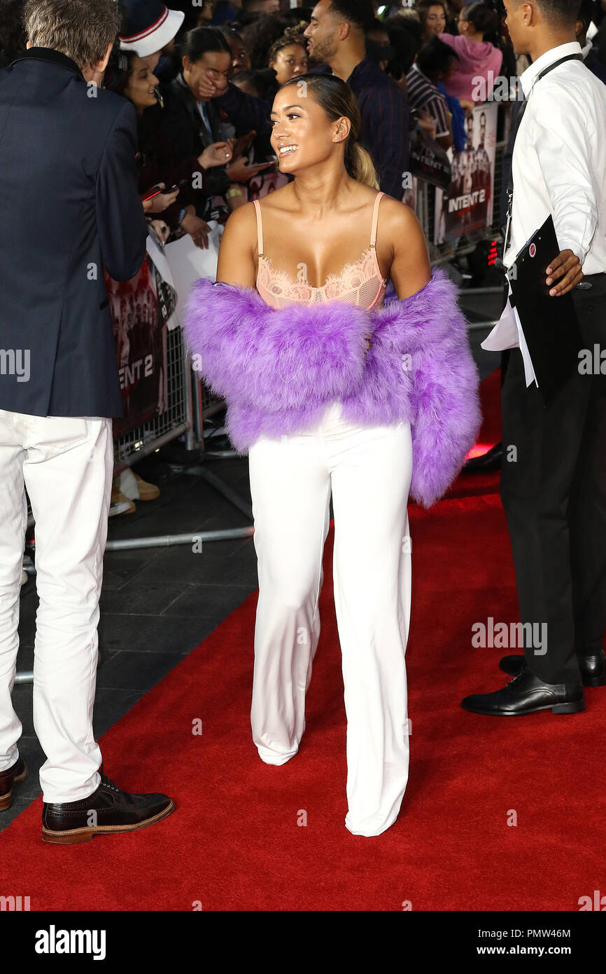 London, UK. 19th Sep 2018. Kaz Crossley, The Intent 2: The Come Up - World Premiere, Leicester Square, London, UK, 19 September 2018, Photo by Richard Goldschmidt Credit: Rich Gold/Alamy Live News - Stock Image
