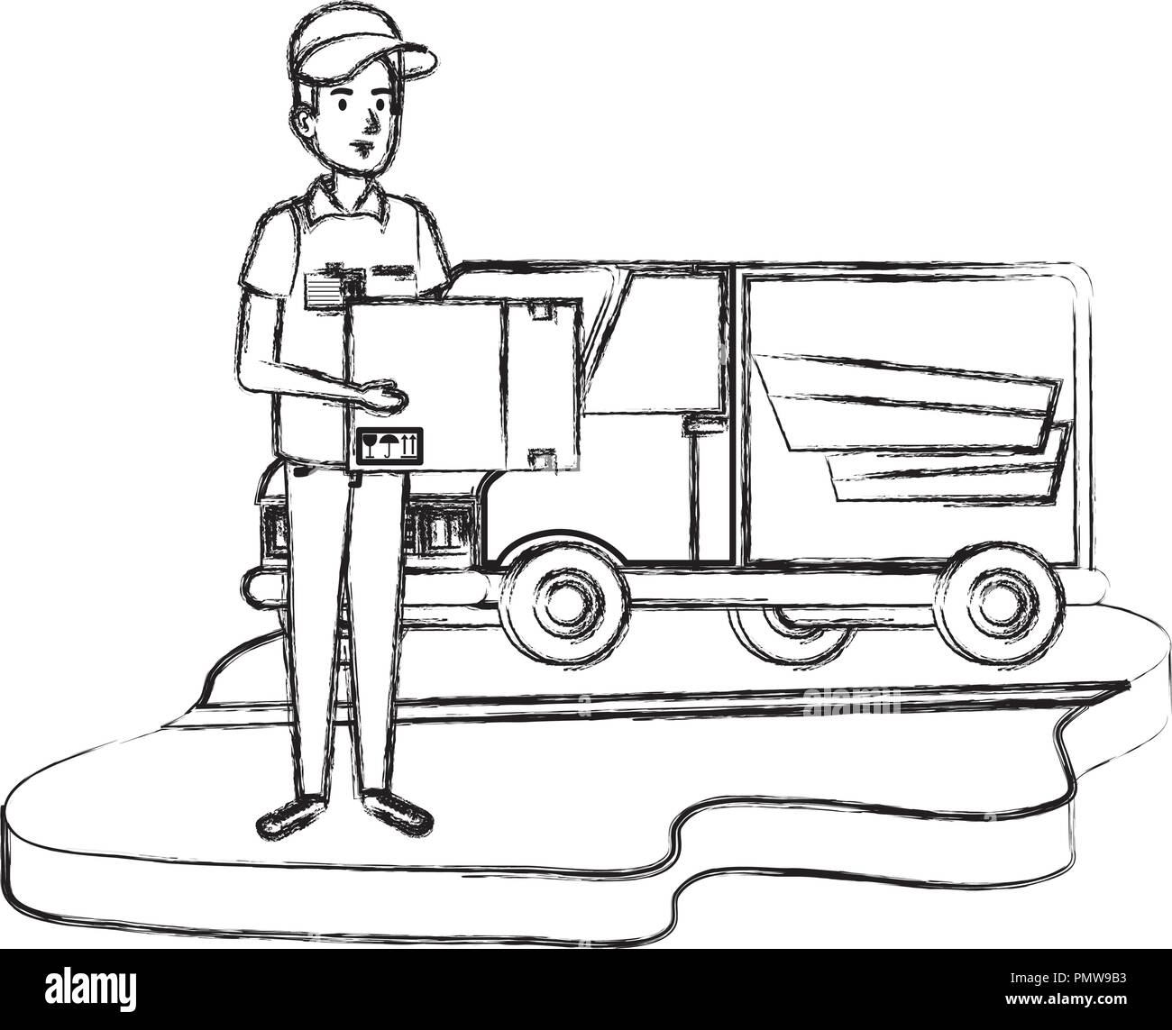delivery worker with box and van - Stock Image