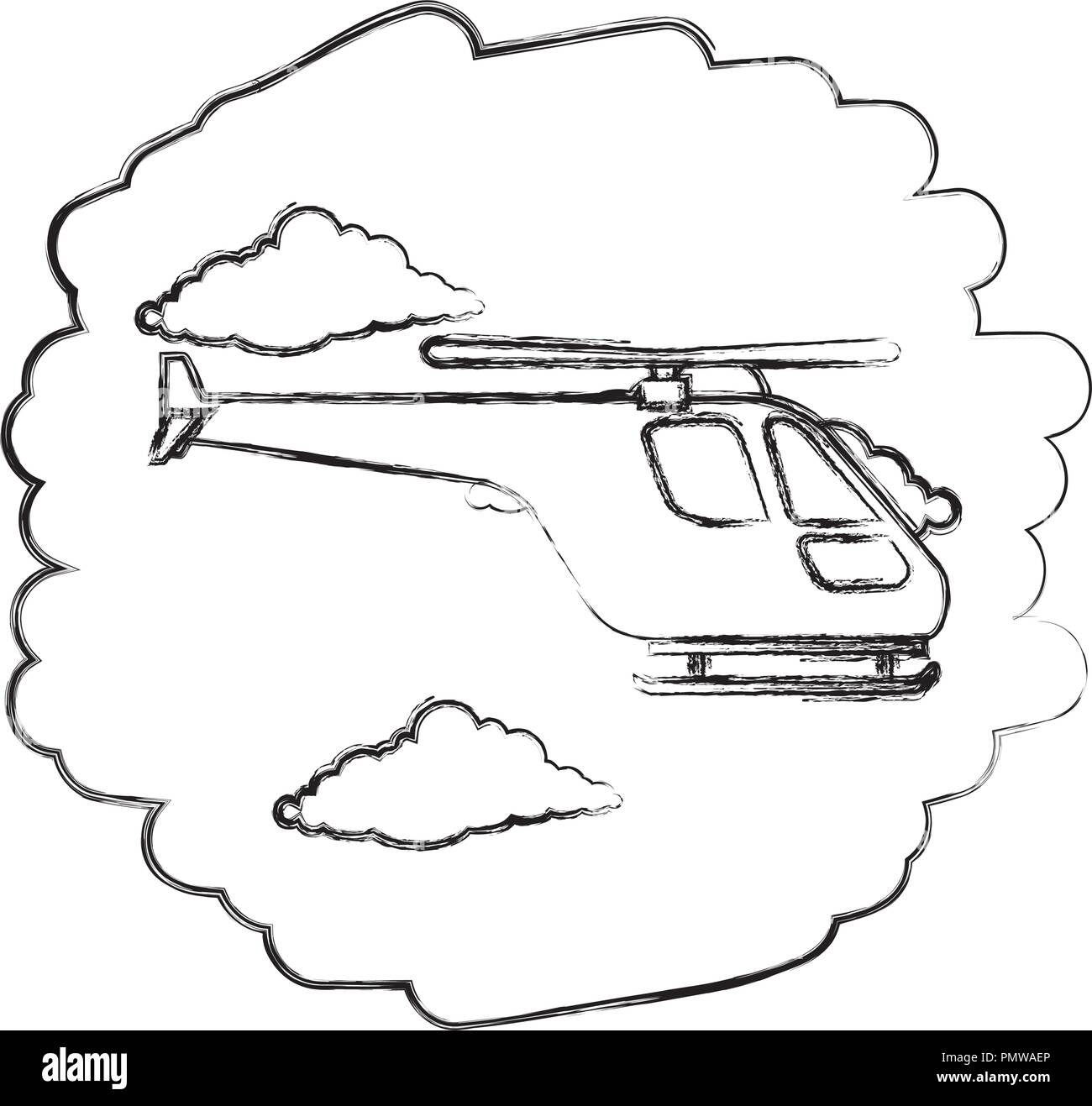 helicopter flying on the sky - Stock Image