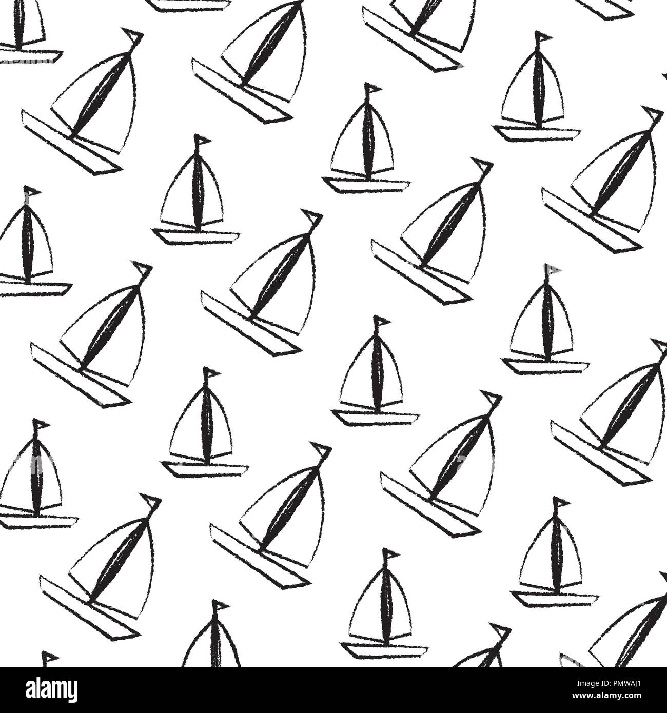 sail boats pattern background Stock Vector