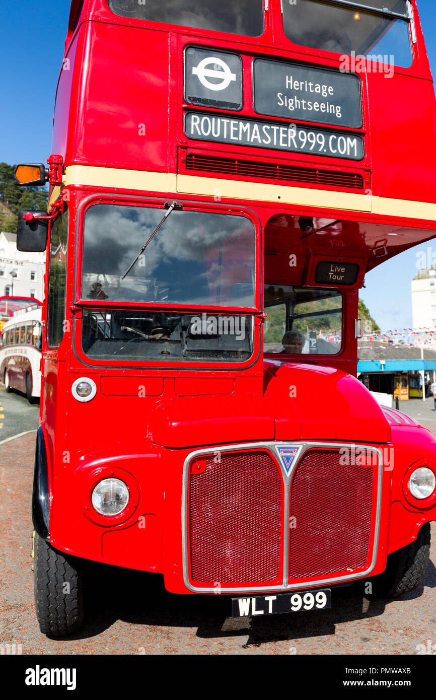 Routemaster london bus used for tours round Llandudno North Wales. Sitting at terminus awaiting passengers at Llandudno seafront. 1960s  bus. - Stock Image