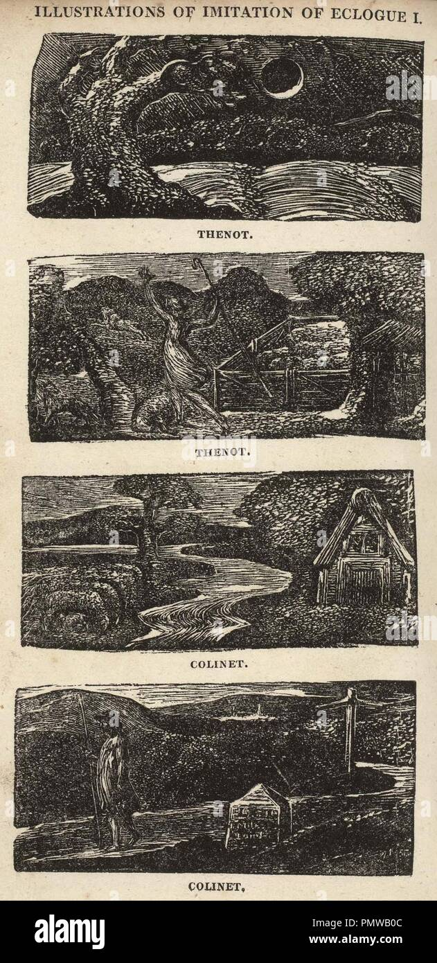 Blake woodcut The Pastorals of Virgil, copy 1, object 7 Illustrations of Imitation of Eclogue I bb504 2 10-13 com 300. - Stock Image