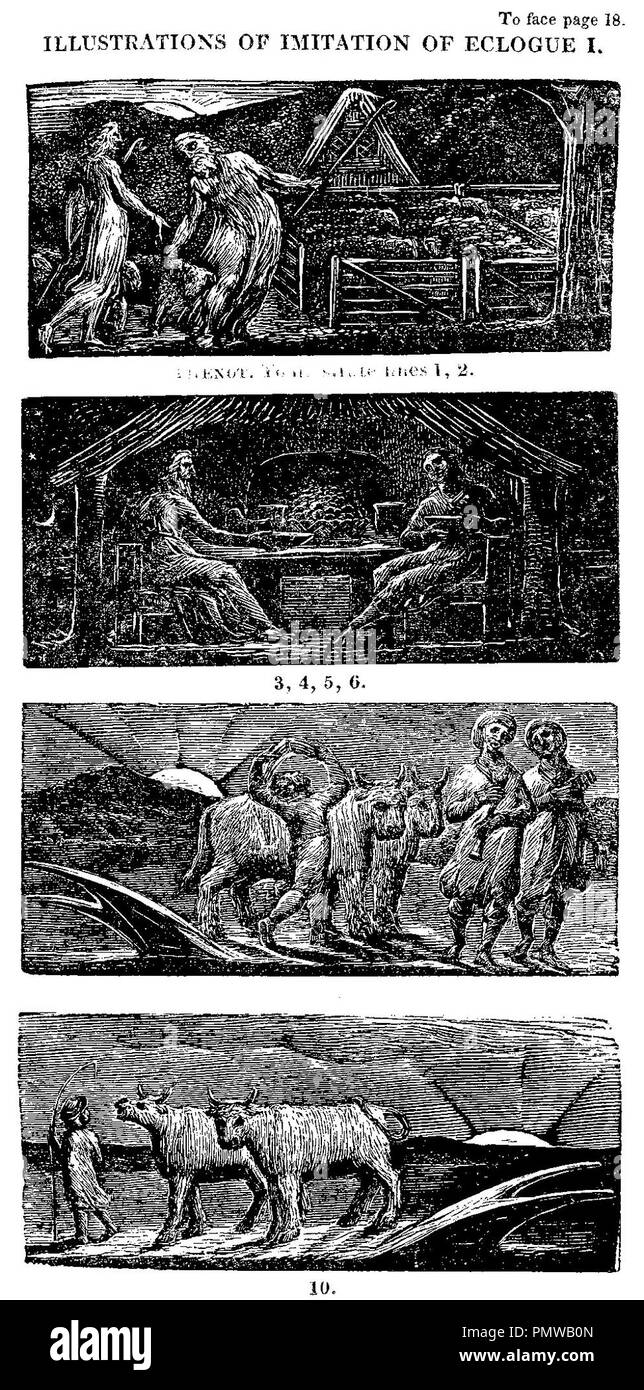 Blake woodcut The Pastorals of Virgil, copy 1, object 10 Illustrations of Imitation of Eclogue Ibw. - Stock Image