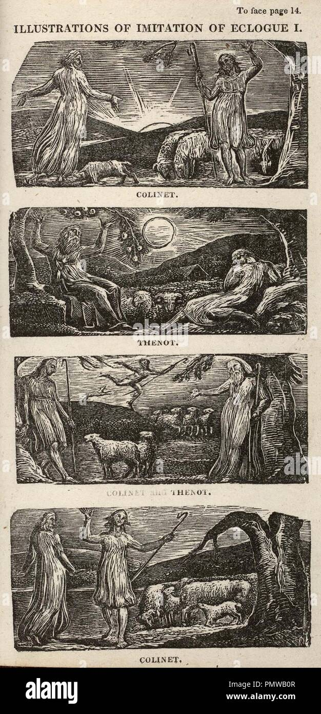 Blake woofcut The Pastorals of Virgil, copy 1, object 6 Illustrations of Imitation of Eclogue I bb504 2 6-9 com 300. - Stock Image