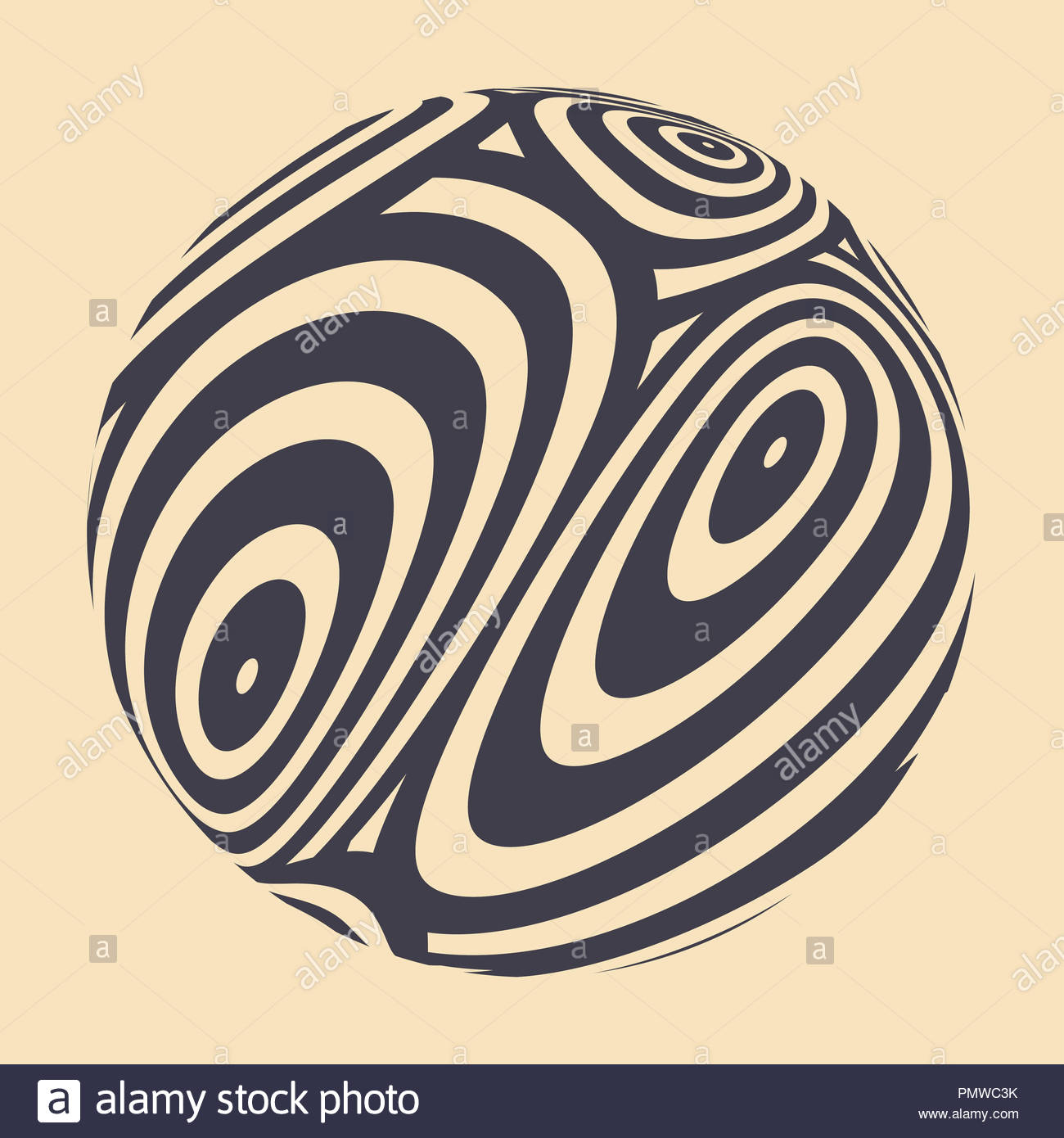 graphic ball with fluid distortion pattern in retro ivory shades - Stock Image