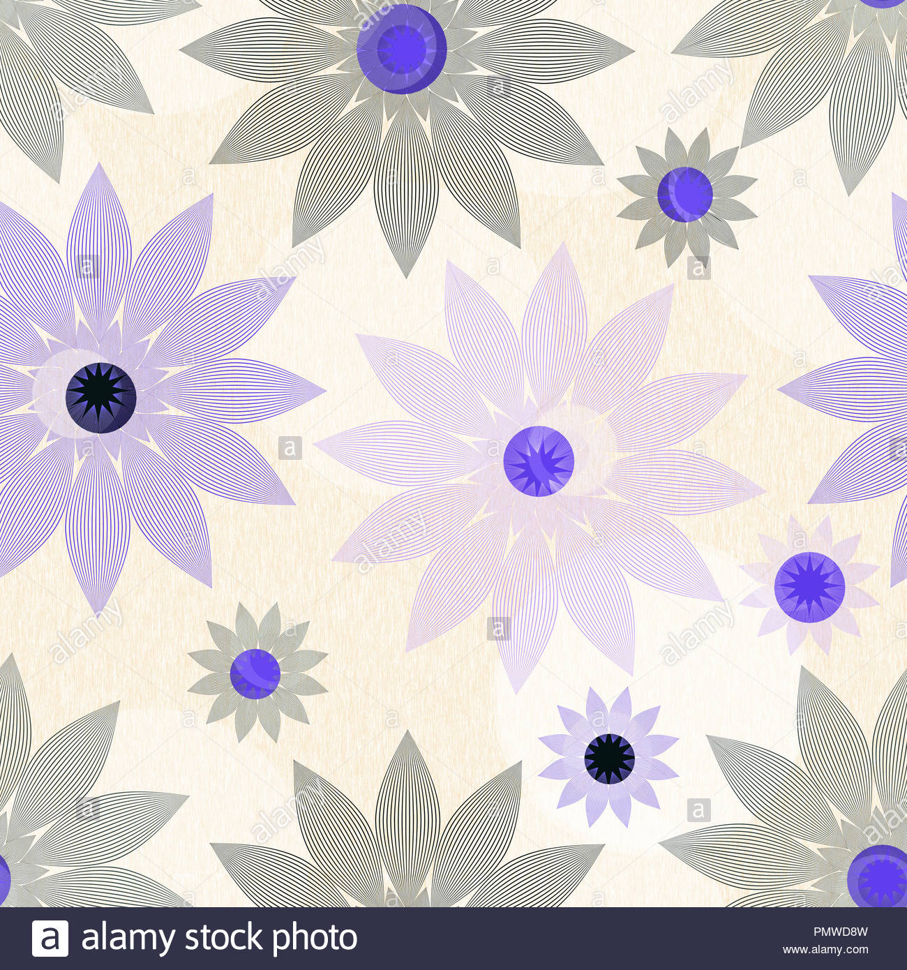 Vintage Style Floral Wallpaper Tile In Ivory And Purple Black