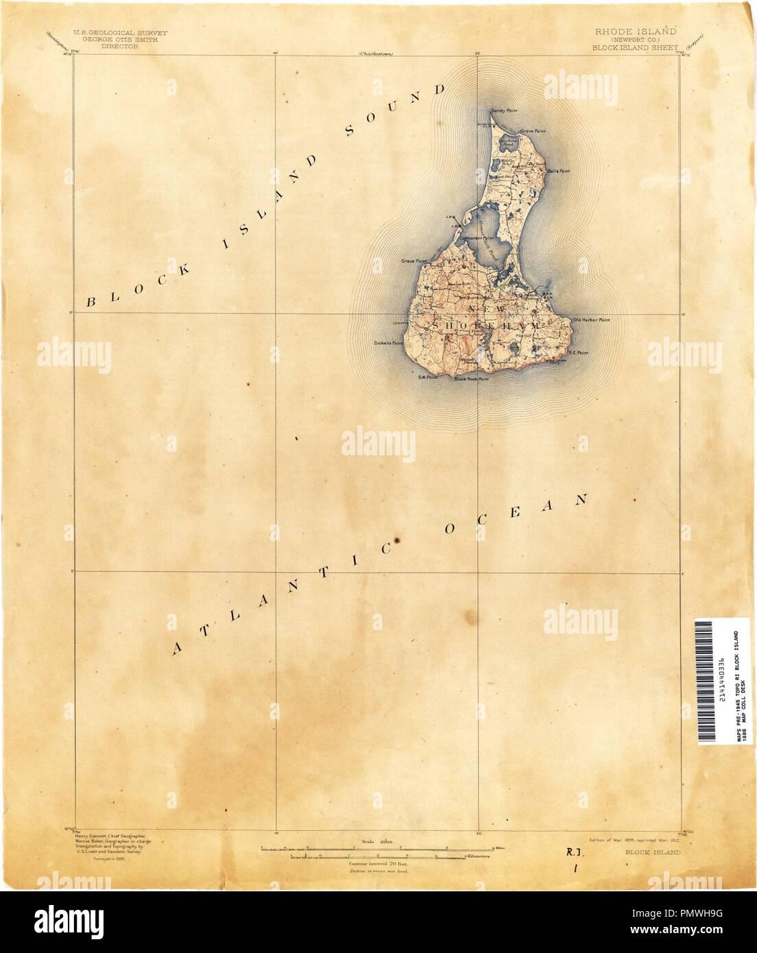 Block Island 1899 USGS map. - Stock Image
