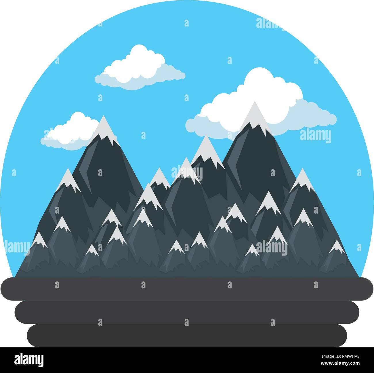 mountains with snow scene - Stock Vector