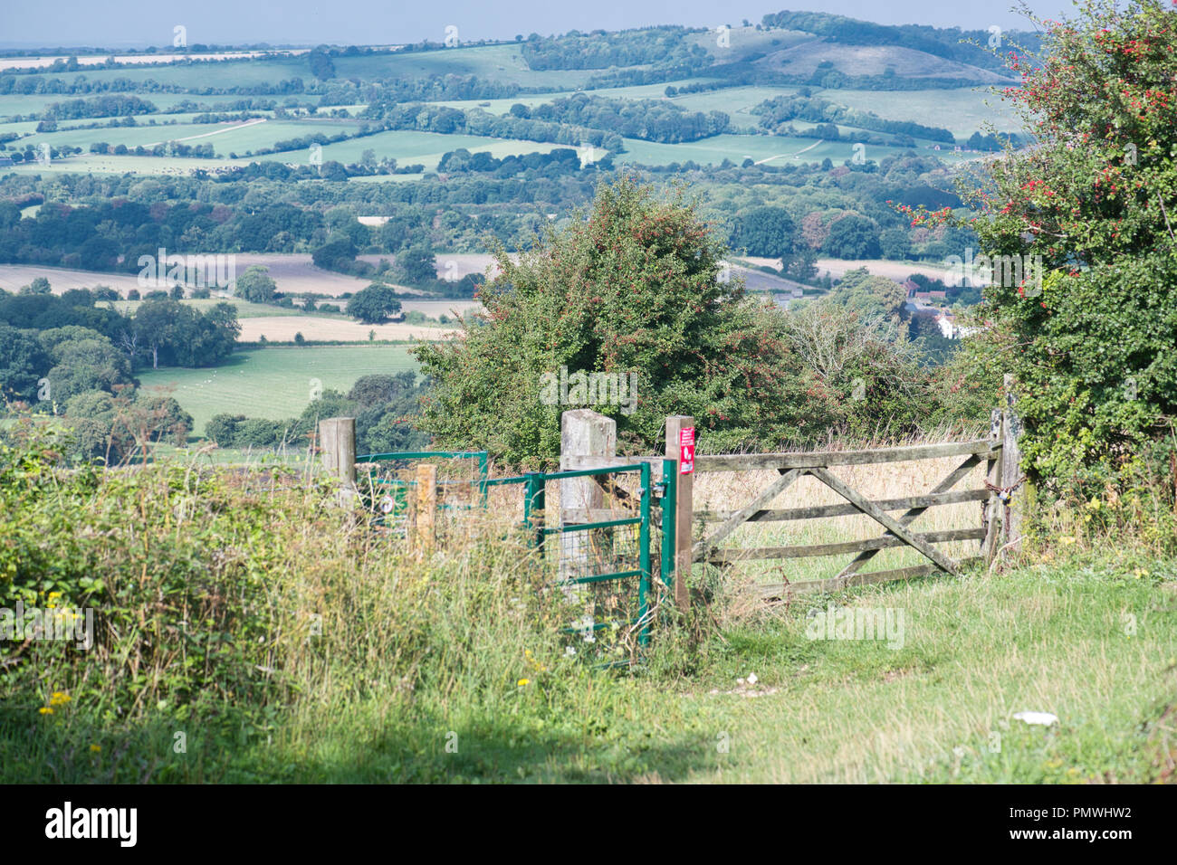 View of the Meon Valley, Hampshire from Old Winchester Hill National Nature Reserve - Stock Image