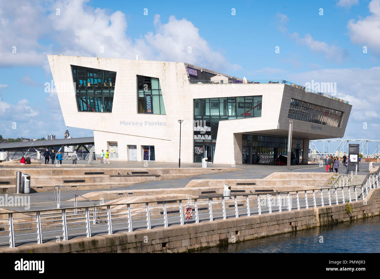 Liverpool Merseyside Pier Head iconic modern contemporary purpose built Mersey Ferries Terminal building - Stock Image