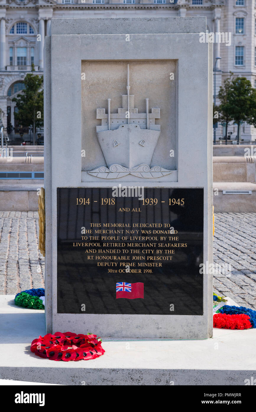 Liverpool Pier Head memorial dedicated to the Merchant Navy seamen sailors who lost their lives in WWI & WWII unveiled John Prescott 1998 wreathes - Stock Image