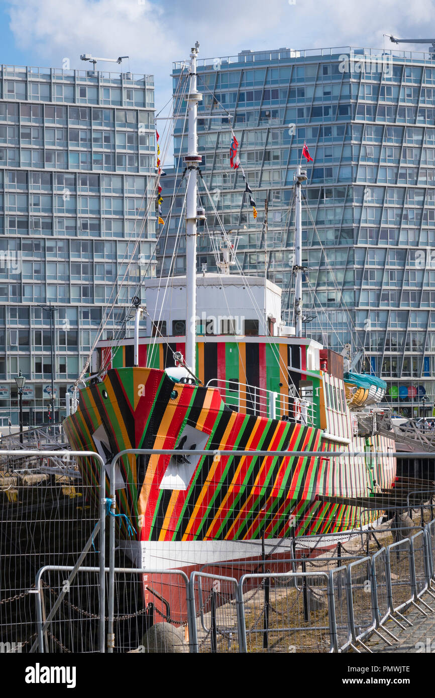 Liverpool Canning Dock Pilot Cutter No 2 1953 Edmund Gardener striped colourful dry dock Maritime Museum flags pennants modern contemporary  offices - Stock Image