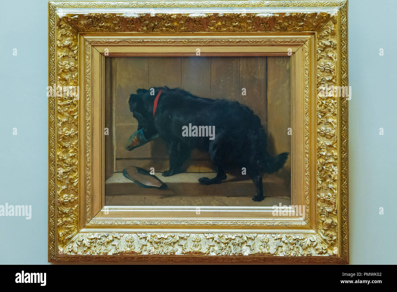 Liverpool Mossley Hill Victorian home Sudley House built 1821 completed George Holt now museum original art collection Dog with Slipper Landseer - Stock Image