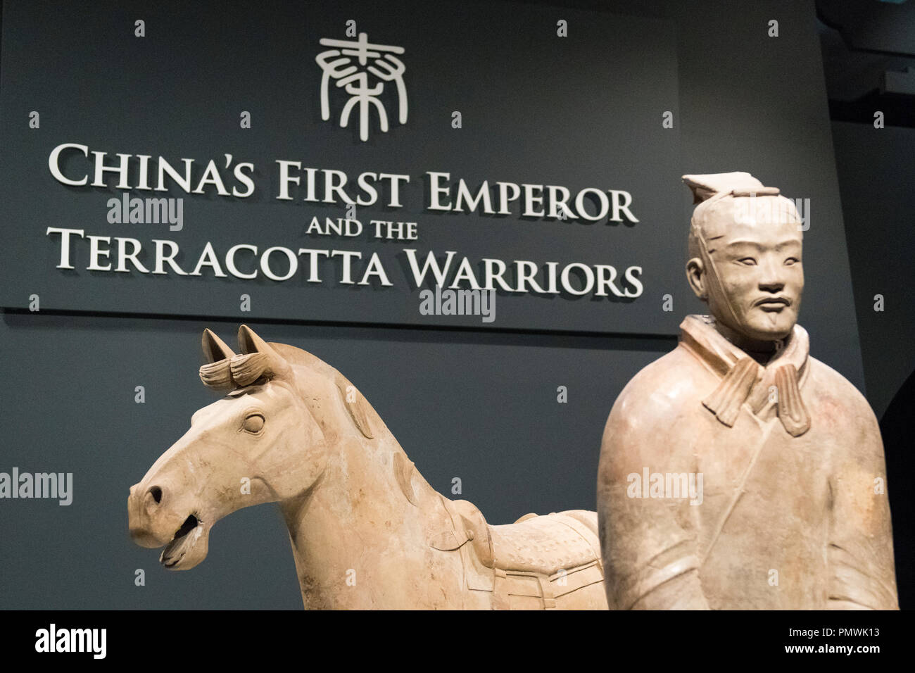 Liverpool William Brown Street World Museum China's First Emperor & The Terracotta Warriors Exhibition entrance soldier horse sign signs detail Stock Photo