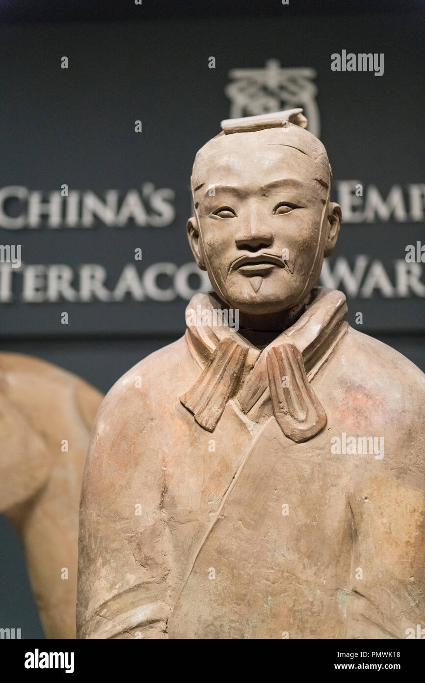 Liverpool William Brown Street World Museum China's First Emperor & The Terracotta Warriors Exhibition soldier warrior sign entrance - Stock Image