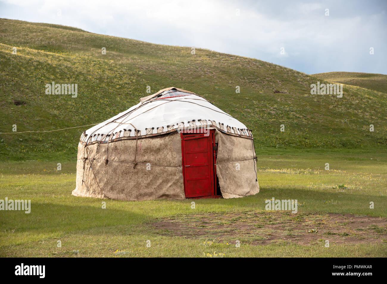 Yurt camp in the Peak Lenin valley, Kyrgyzstan Stock Photo