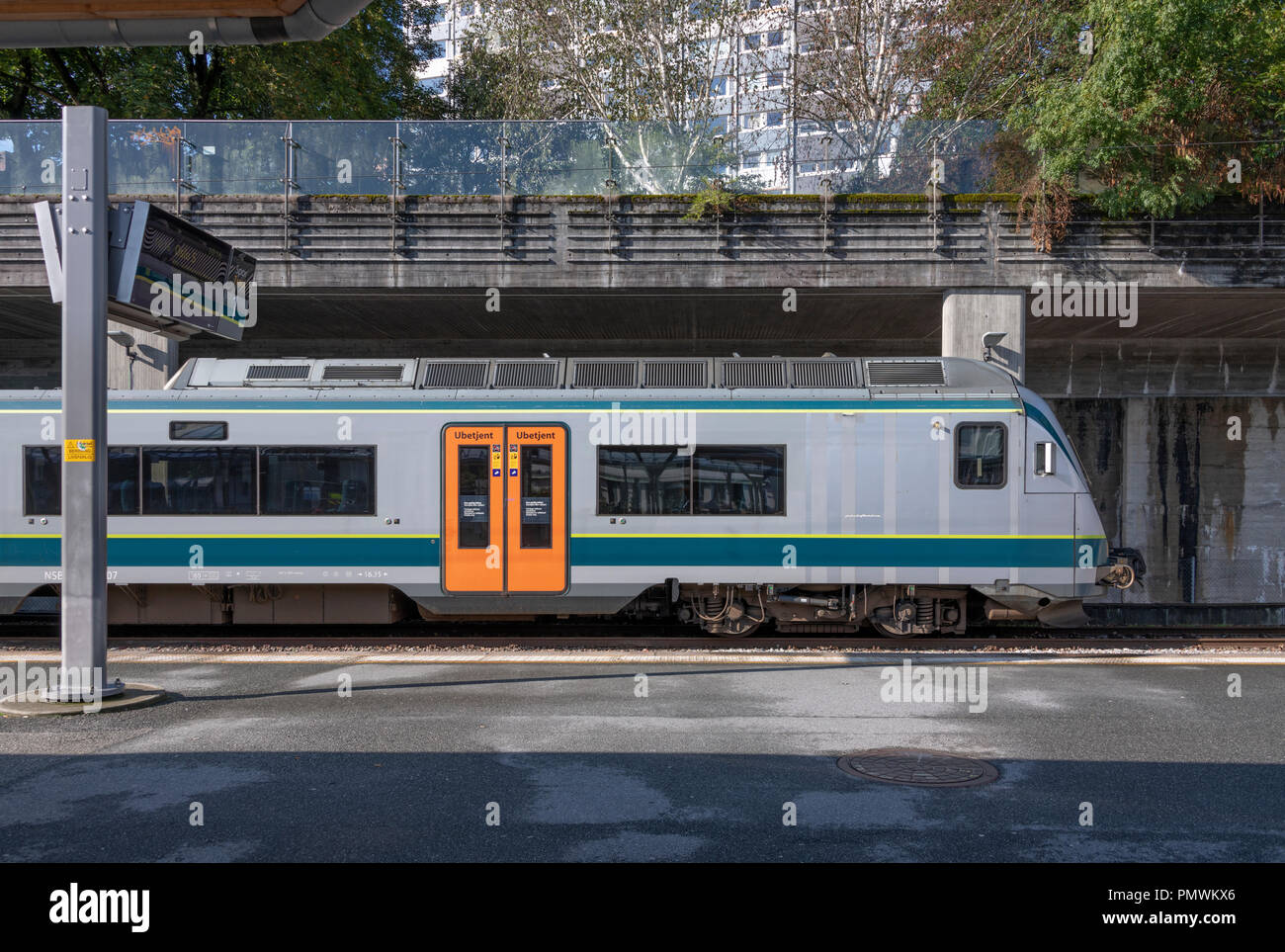 Train waiting at Stavanger Station, Norway - Stock Image